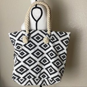 Handbags - Boho Patterned Tote with Rope Handles